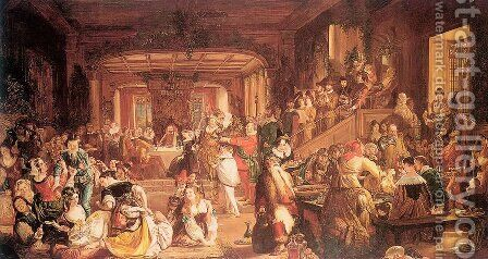 Merry Christmas in the Baron's Hall  1838 by Daniel Maclise - Reproduction Oil Painting