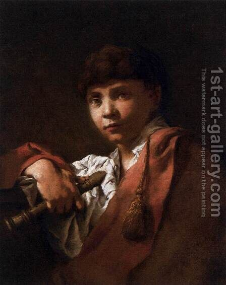 Boy with Flute  1740-50 by Domenico Maggiotto - Reproduction Oil Painting