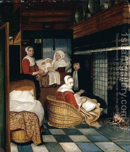 Interior with a Family and Two Nurses before a Fire 1670s by Cornelis De Man - Reproduction Oil Painting