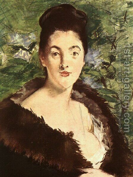 Lady with a Fur 1880 by Edouard Manet - Reproduction Oil Painting