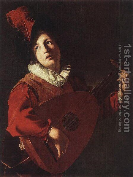 Lute Playing Young by Bartolomeo Manfredi - Reproduction Oil Painting