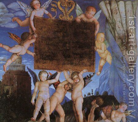 Camera degli Sposi, detail featuring Putti Holding Dedicatory Tablet by Andrea Mantegna - Reproduction Oil Painting