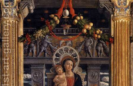 San Zeno Polyptych (detail-1) 1457-60 by Andrea Mantegna - Reproduction Oil Painting