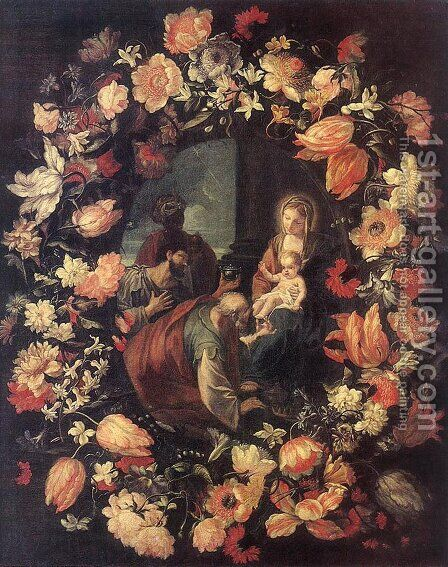 Adoration of the Magi (in Garland) by Carlo Maratti - Reproduction Oil Painting