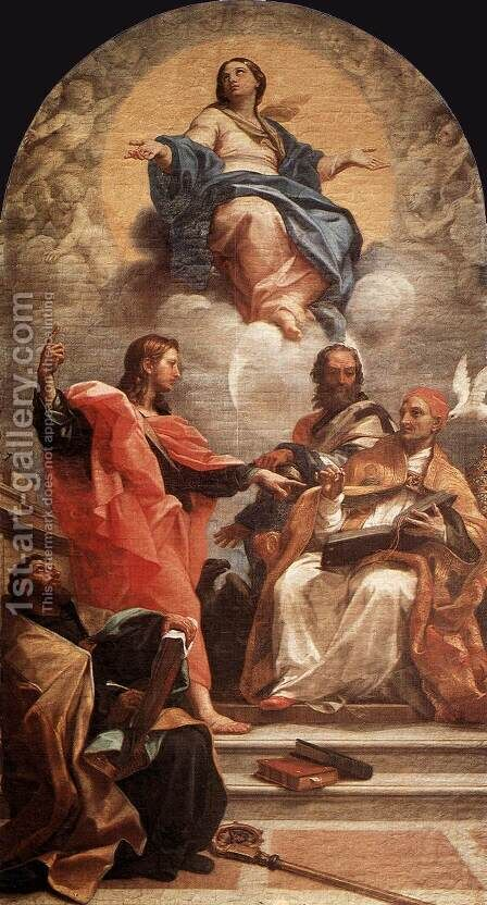Assumption and the Doctors of the Church 1689 by Carlo Maratti - Reproduction Oil Painting