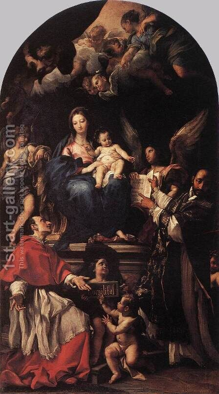 Madonna and Child Enthroned with Angels and Saints  1680-90 by Carlo Maratti - Reproduction Oil Painting