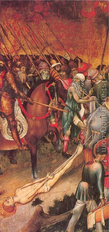 The Legend of Saint George- The Saint Dragged through the City by Bernat (Bernardo) Martorell - Reproduction Oil Painting