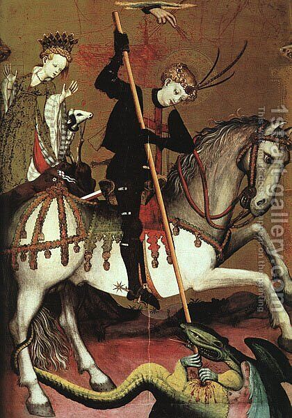 Retable of St George (detail 2) c. 1400 by Andres Marzal De Sax - Reproduction Oil Painting