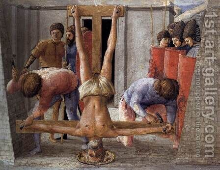Crucifixion of St Peter 1426 by Masaccio (Tommaso di Giovanni) - Reproduction Oil Painting