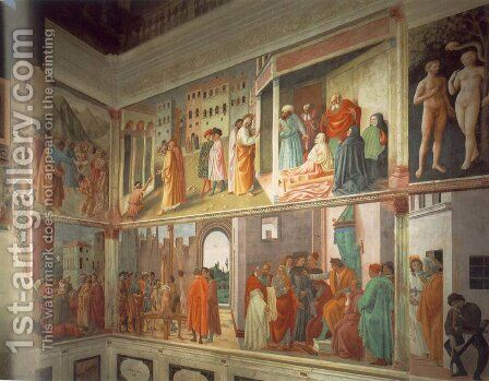 Frescoes in the Cappella Brancacci (right view) 1426-82 by Masaccio (Tommaso di Giovanni) - Reproduction Oil Painting