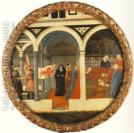Plate of Nativity (Berlin Tondo) 1427-28 by Masaccio (Tommaso di Giovanni) - Reproduction Oil Painting