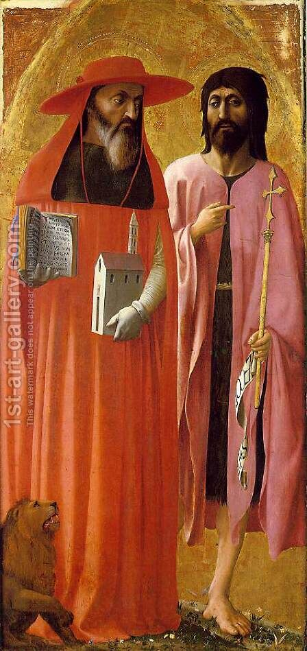 St Jerome and St John the Baptist 1428 by Masaccio (Tommaso di Giovanni) - Reproduction Oil Painting