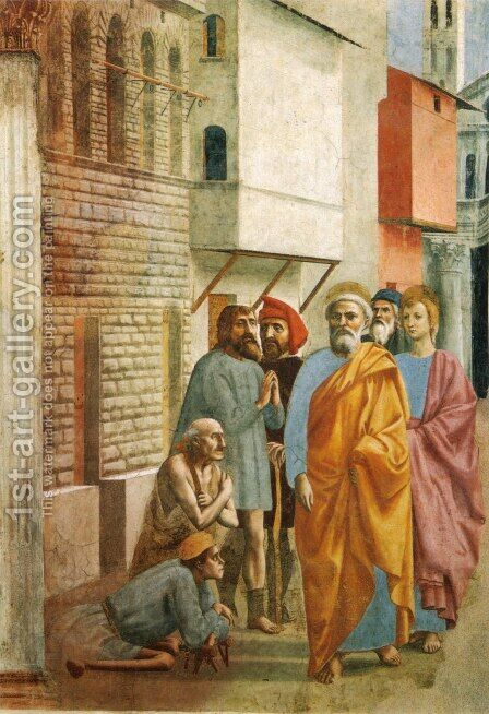 St Peter Healing the Sick with his Shadow 1426-27 by Masaccio (Tommaso di Giovanni) - Reproduction Oil Painting
