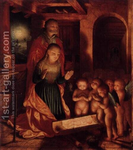The Birth of Jesus c. 1530 by Master M Z - Reproduction Oil Painting