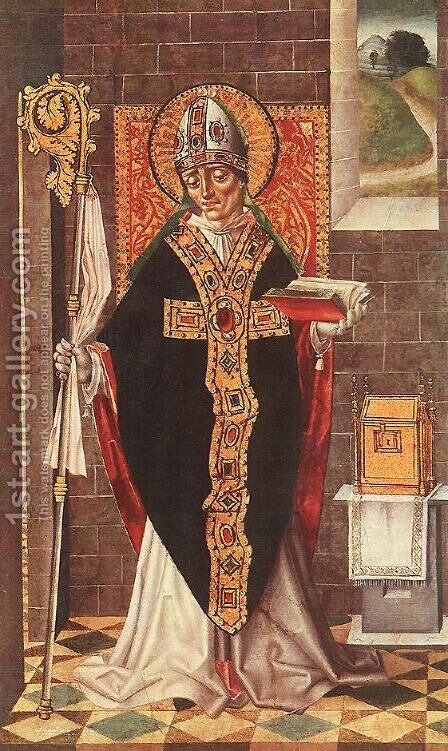 Holy Bishop c. 1500 by Master of Budapest - Reproduction Oil Painting