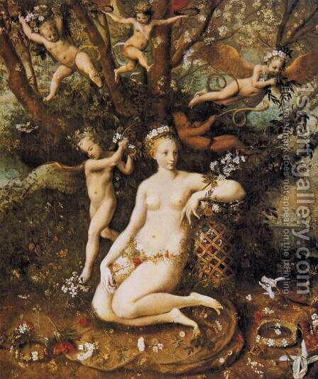 The Triumph of Flora c. 1560 by Master of Flora - Reproduction Oil Painting