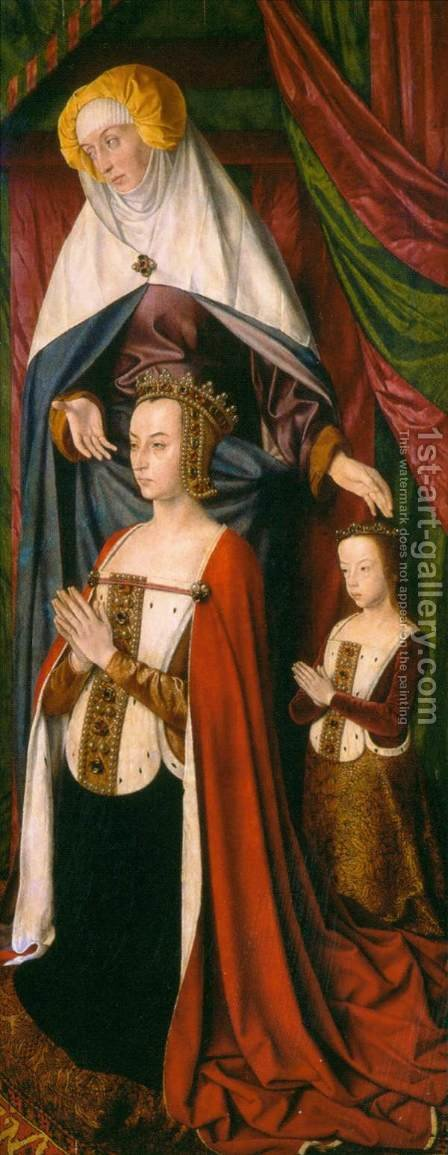 Anne de France, Wife of Pierre de Bourbon 1498-99 by Master of Moulins  (Jean Hey) - Reproduction Oil Painting