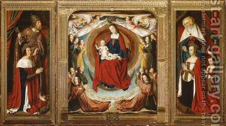 The Moulins Triptych 1498-99 by Master of Moulins  (Jean Hey) - Reproduction Oil Painting