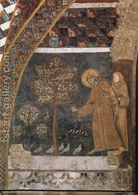 Scenes from the Life of St Francis- Francis Preaching to the Birds 1260-80 by Master of St Francis - Reproduction Oil Painting