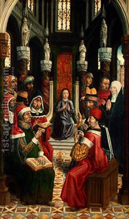 Christ among the Doctors 1495-97 by Master of the Catholic Kings - Reproduction Oil Painting