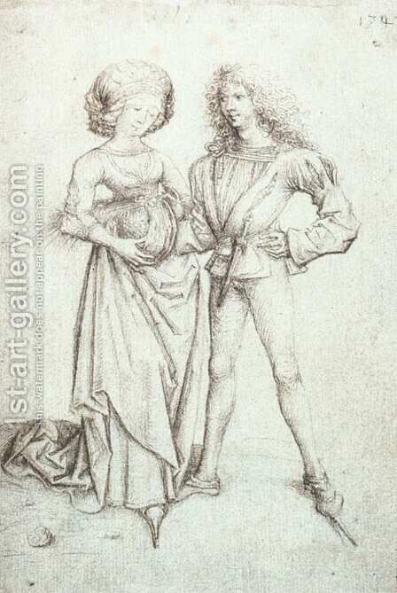 Standing Couple c. 1480 by Master of the Housebook - Reproduction Oil Painting