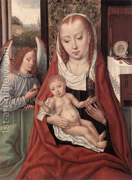 Virgin and Child with an Angel 1480-1500 by Master of the Legend of St. Ursula - Reproduction Oil Painting