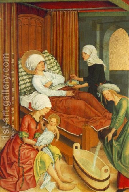 The Birth of Mary by Master of the Pfullendorf Altar - Reproduction Oil Painting