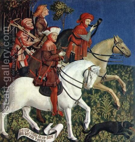 Prince Tassilo Rides to Hunting 1444 by Master of the Polling Panels - Reproduction Oil Painting