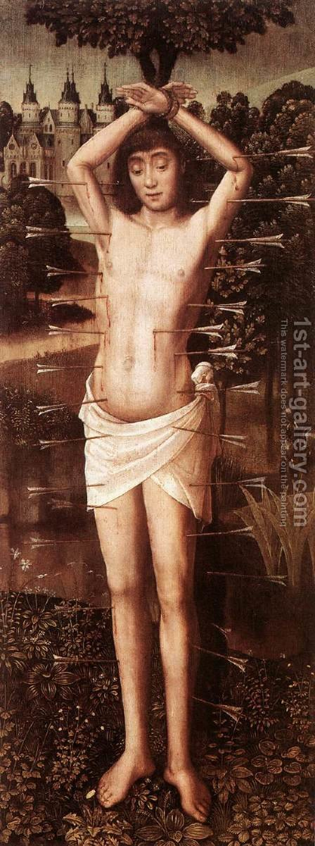 St Sebastian 1480-90 by Master of the Saint Lucy Legend - Reproduction Oil Painting
