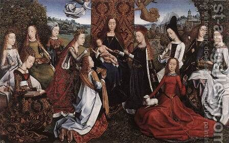 Virgin Surrounded by Female Saints c. 1488 by Master of the Saint Lucy Legend - Reproduction Oil Painting