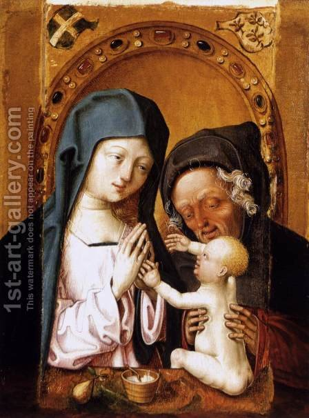 The Holy Family 1470s by Master of the St. Bartholomew Altarpiece - Reproduction Oil Painting