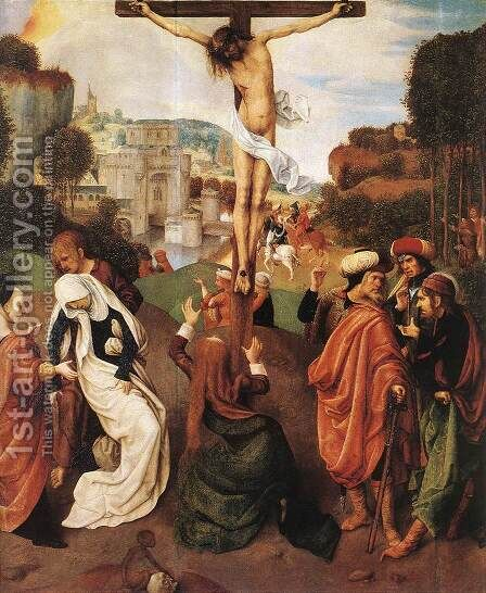 Crucifixion 1490s by Master of the Virgo inter Virgines - Reproduction Oil Painting