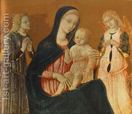 Madonna with Child and Two Angels by Matteo Di Giovanni - Reproduction Oil Painting