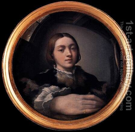 Self-portrait in a Convex Mirror c. 1524 by Girolamo Francesco Maria Mazzola (Parmigianino) - Reproduction Oil Painting