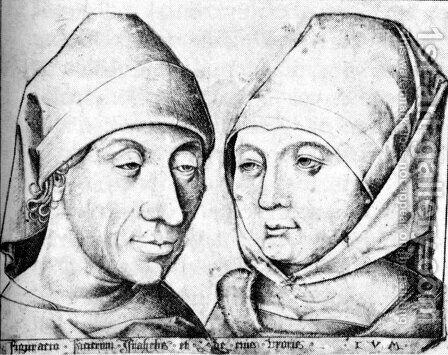 The Artist and his Wife Ida c. 1490 by Israhel van, the Younger Meckenem - Reproduction Oil Painting