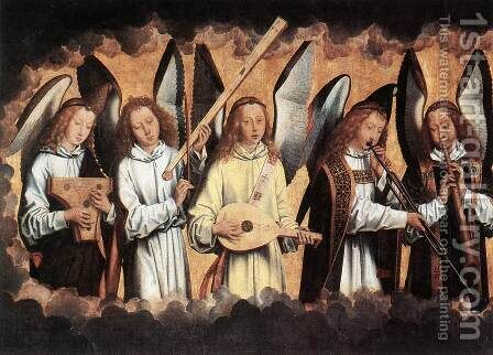 Angel Musicians (left panel) 1480s by Hans Memling - Reproduction Oil Painting