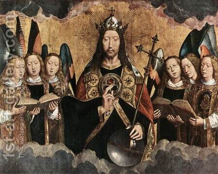 Christ Surrounded by Musician Angels 1480s by Hans Memling - Reproduction Oil Painting