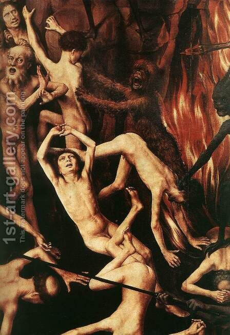 Last Judgment Triptych (detail-9) 1467-71 by Hans Memling - Reproduction Oil Painting