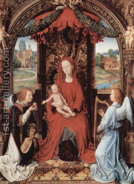 Madonna Enthroned with Child and Two Angels 1490-91 by Hans Memling - Reproduction Oil Painting