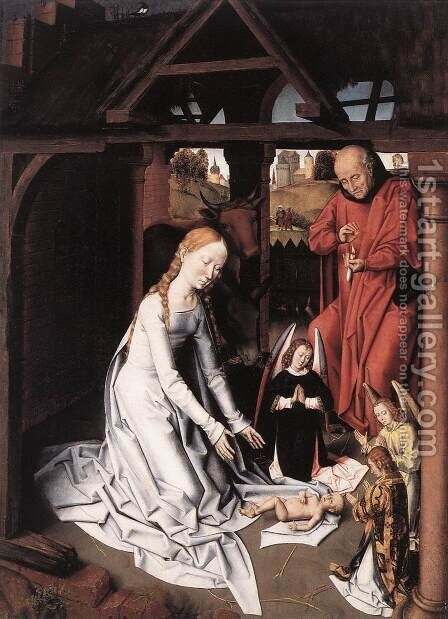 Nativity 1475-1500 by Hans Memling - Reproduction Oil Painting