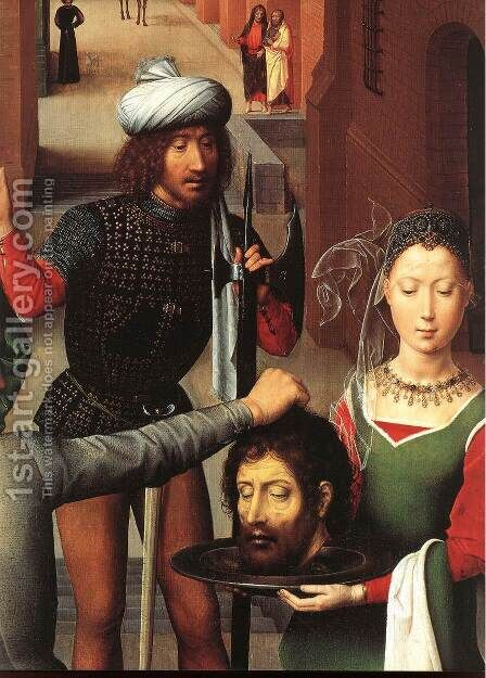 St John Altarpiece (detail-1) 1474-79 by Hans Memling - Reproduction Oil Painting