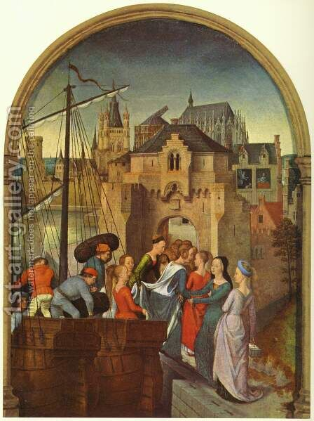 St Ursula Shrine- Arrival in Cologne (scene 1) 1489 by Hans Memling - Reproduction Oil Painting