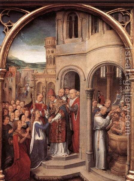 St Ursula Shrine- Arrival in Rome (scene 3) 1489 by Hans Memling - Reproduction Oil Painting