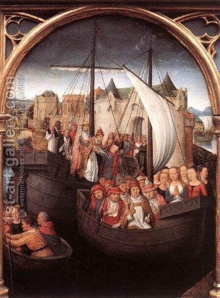 St Ursula Shrine- Departure from Basle (scene 4) 1489 by Hans Memling - Reproduction Oil Painting