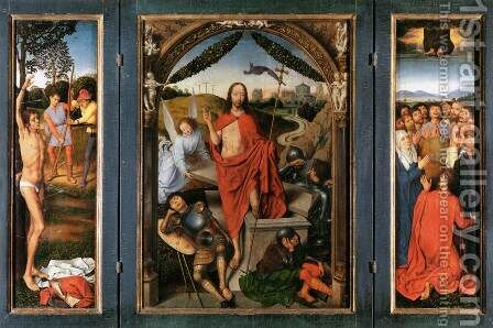 Triptych of the Resurrection c. 1490 by Hans Memling - Reproduction Oil Painting