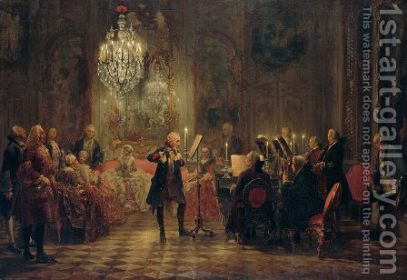 A Flute Concert of Frederick the Great at Sanssouci 1852 by Adolph von Menzel - Reproduction Oil Painting