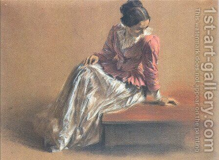 Costume Study of a Seated Woman- The Artist's Sister Emilie by Adolph von Menzel - Reproduction Oil Painting