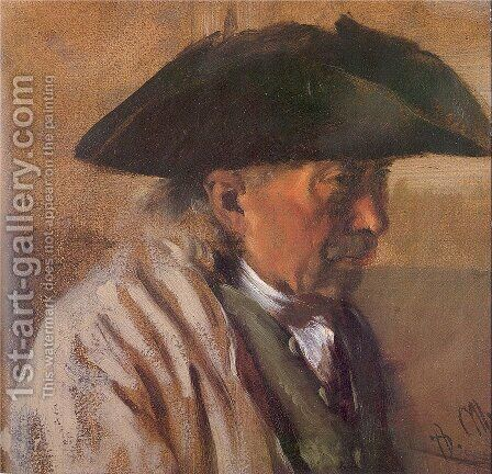 Peasant with a Three-Cornered Hat 1850-60 by Adolph von Menzel - Reproduction Oil Painting