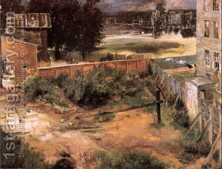 Rear of House and Backyard 1846 by Adolph von Menzel - Reproduction Oil Painting