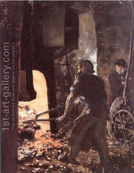 Self-Portrait with Worker near the Steam-hammer 1872 by Adolph von Menzel - Reproduction Oil Painting